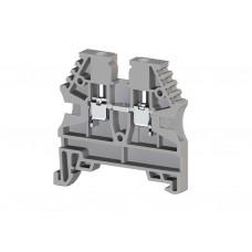 304120, Клеммник на DIN-рейку 2,5мм.кв. (серый); AVK2,5 (упак 100 шт)