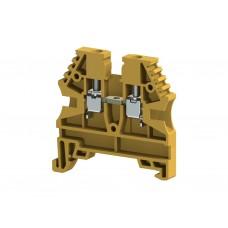304123, Клеммник на DIN-рейку 2,5мм.кв. (желтый); AVK2,5 (упак 100 шт)