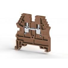 304128, Клеммник на DIN-рейку 2,5мм.кв. (коричневый); AVK2,5 (упак 100 шт)