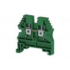 304132, Клеммник на DIN-рейку 4мм.кв. (зеленый); AVK4 (упак 100 шт)