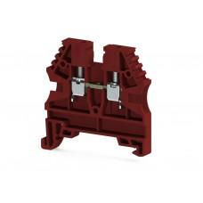 304134, Клеммник на DIN-рейку 4мм.кв. (красный); AVK4 (упак 100 шт)
